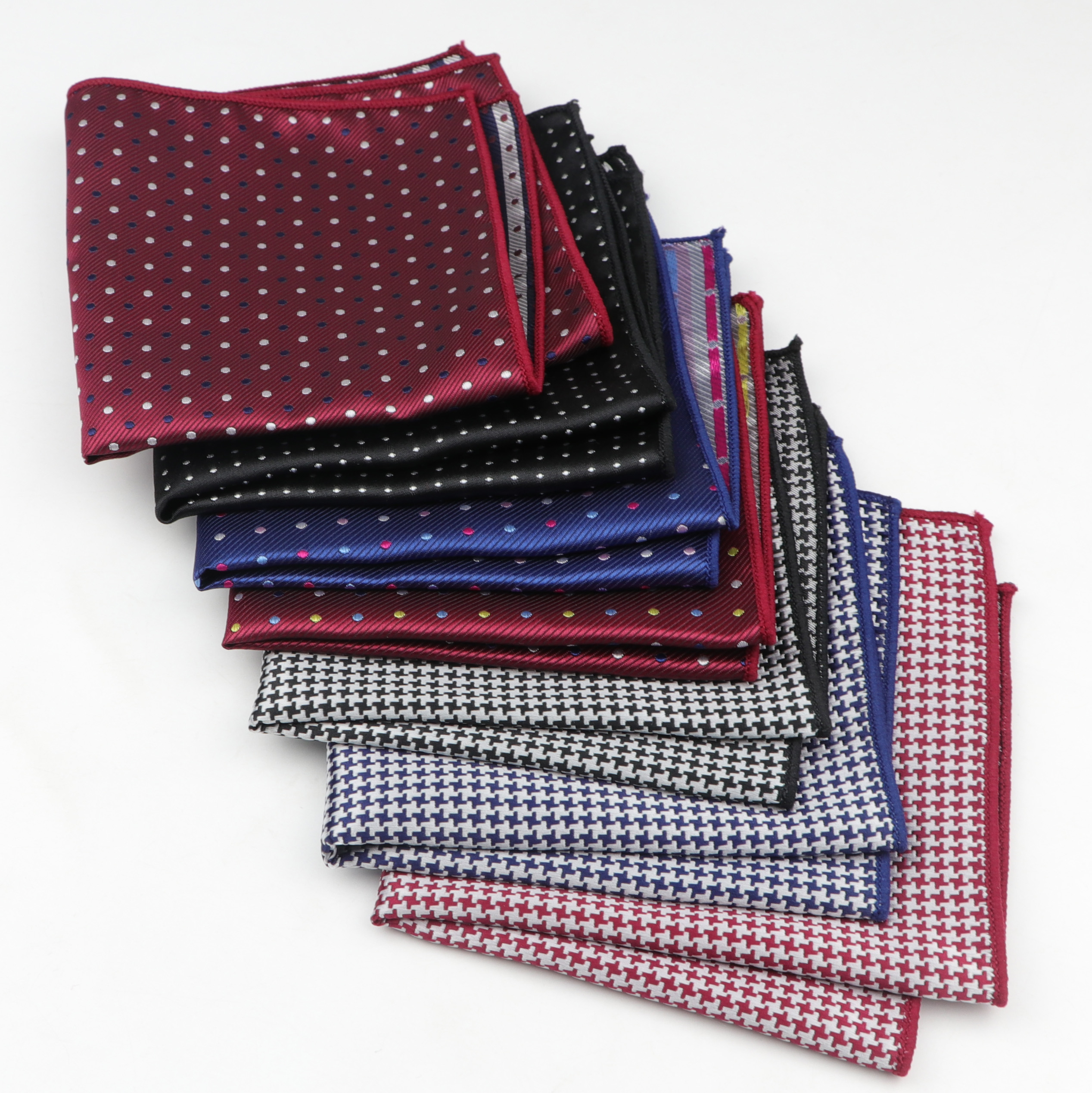 Dot Handkerchief Polyester Scarves Vintage Fabric Of Business Suit Hankies Men's Pocket Striped Square Handkerchiefs 22*22cm
