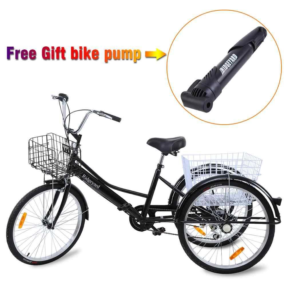 "24/"" 6 Speed Adult Trike Tricycle 3-Wheel Bike w//Basket for Shopping w// light DHL"
