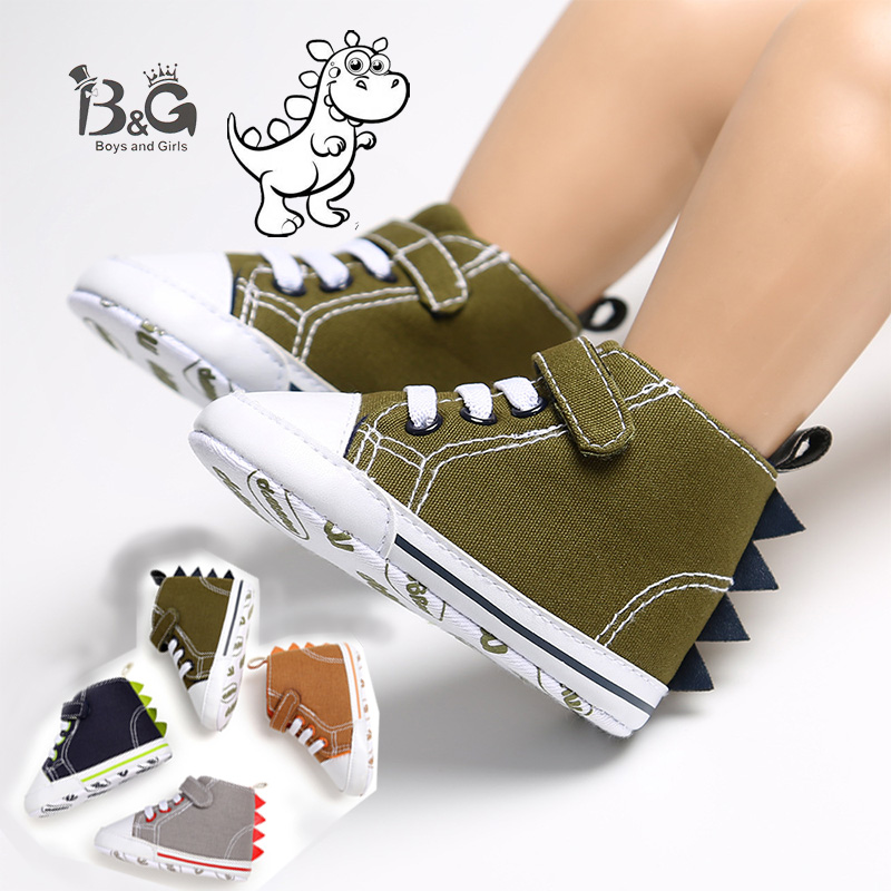 B&G Boys' Baby Canvas Shoes Antislip Soft Todler Sneakers High Top Skateboarding Shoes First Walkers