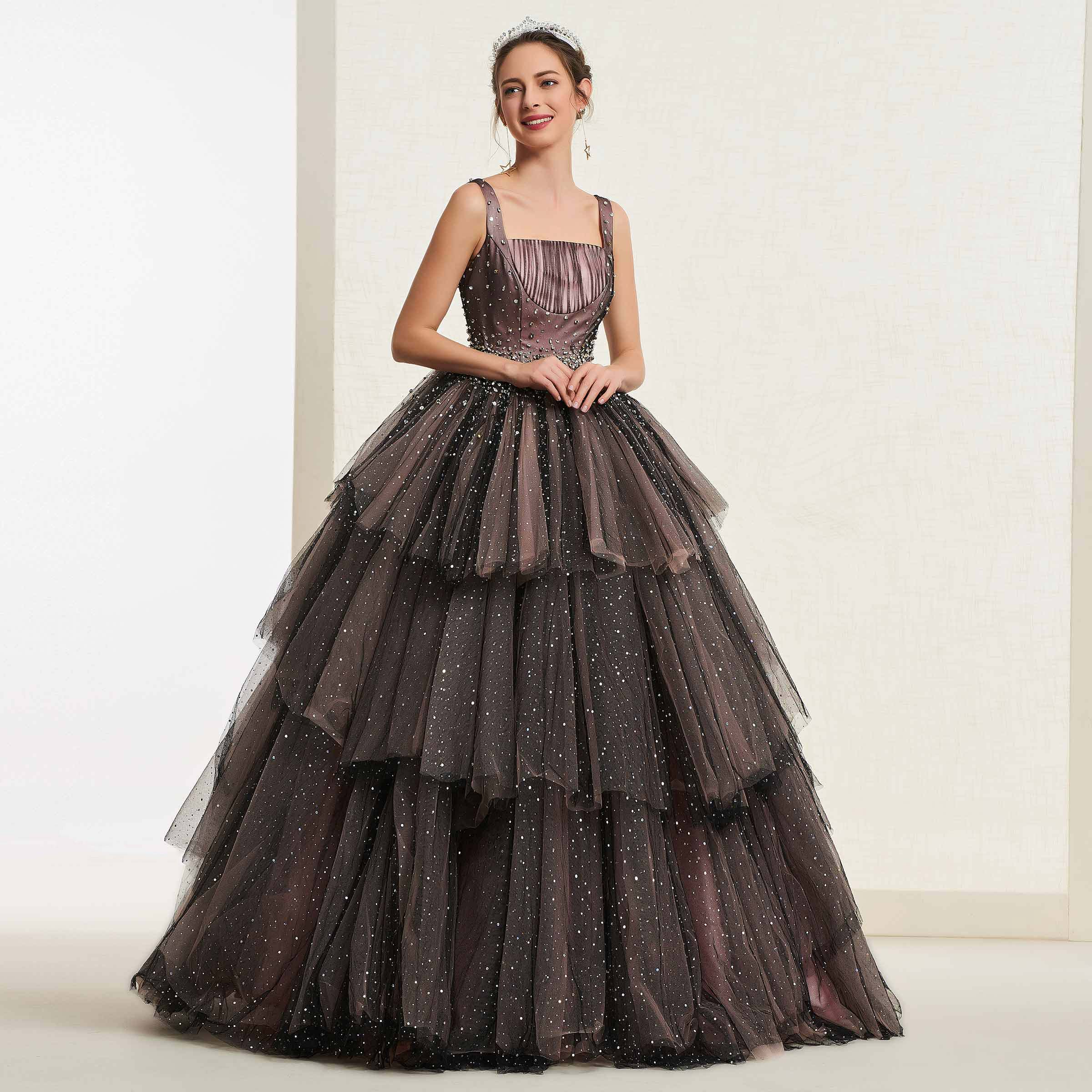Tanpell Black Ball Gown Quinceanera Dress Beading Tiered Square Sleeveless Floor-Length Christmas Sweet 16 Quinceanera Dress