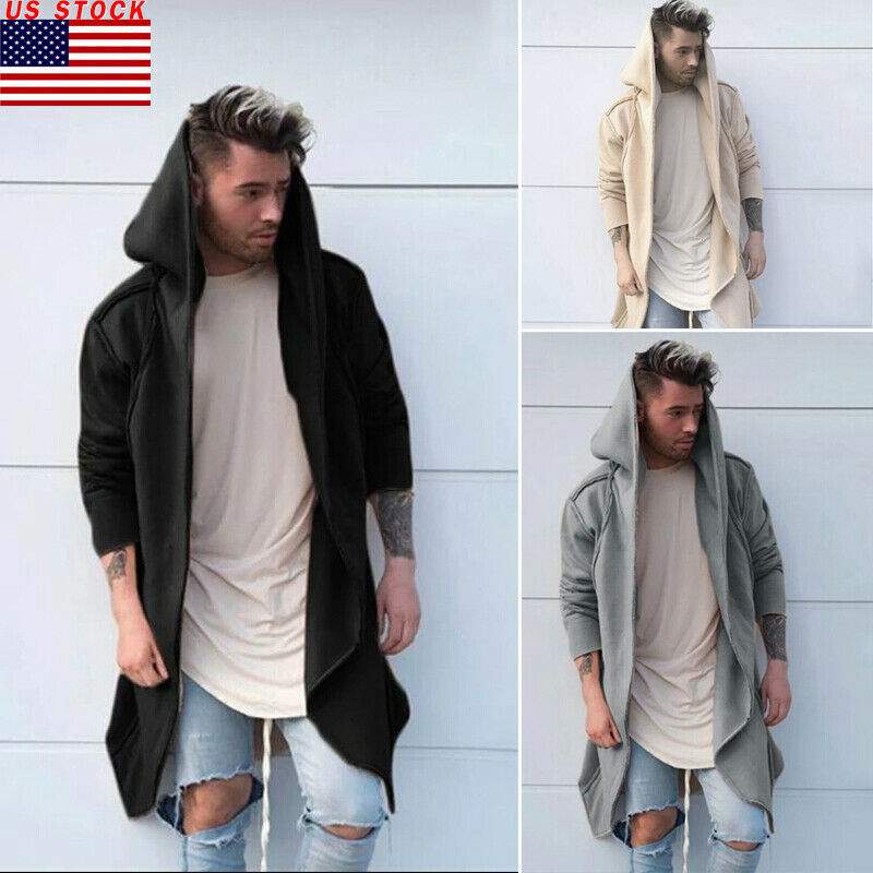 Hot Sale New Fashion Men Trench Winter Warm Solid Cardigan Hooded Long Cloak Cape Coat Jacket Windbreaker Overcoat Soft Outwear