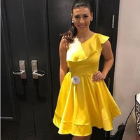 Yellow Ruffles One shoulder A line Cocktail Dresses Simple Sleeveless Scalloped Neck Knee length Party Gown платье коктельное