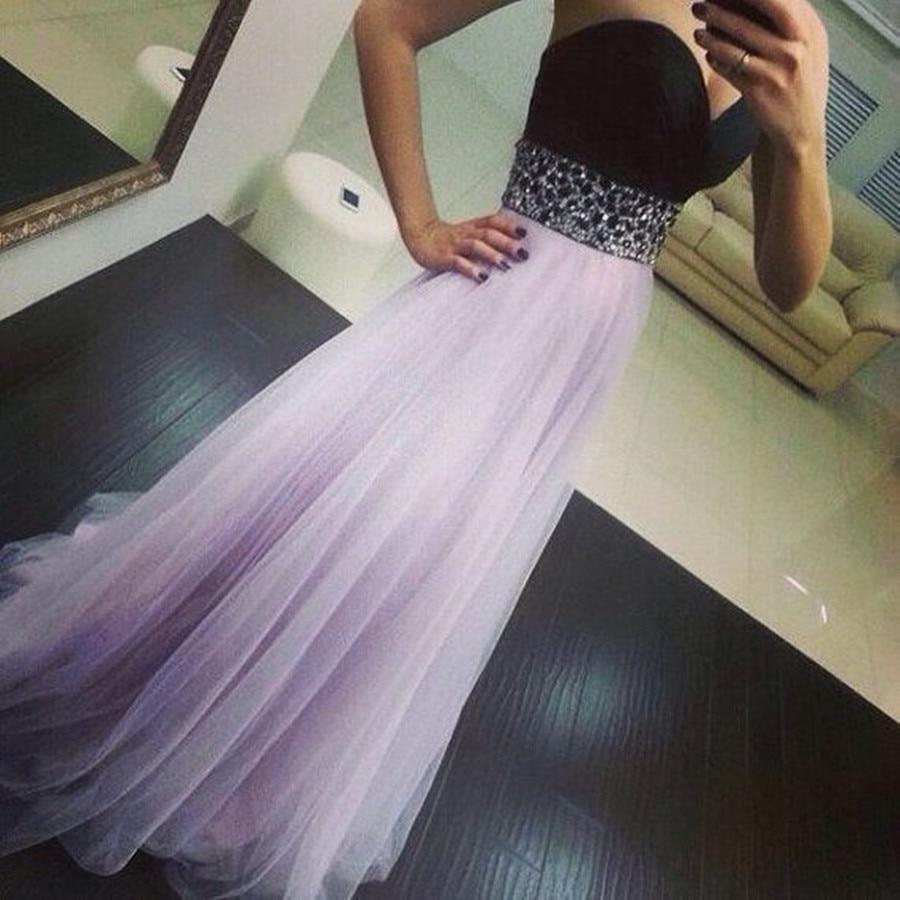 BacklakeGirls Sexy Sweetheart Neck Sleeveless Chiffon Evening Dress Contrast Color Long A Line Prom Dress Abendkleider Lang