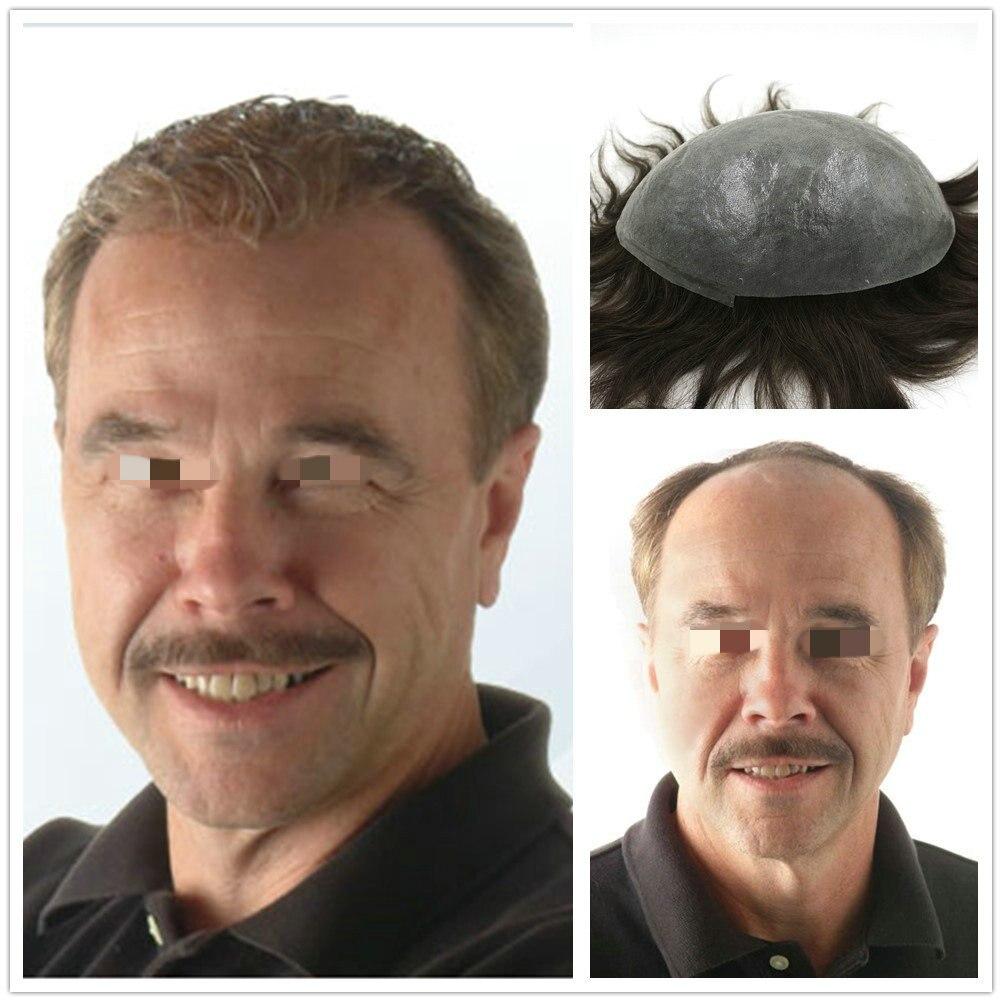Hstonir Stock Silver Grey Hair Toupee Silicon Base Thin Skin Indian Human Remy Hair Mens Hairpiece H079