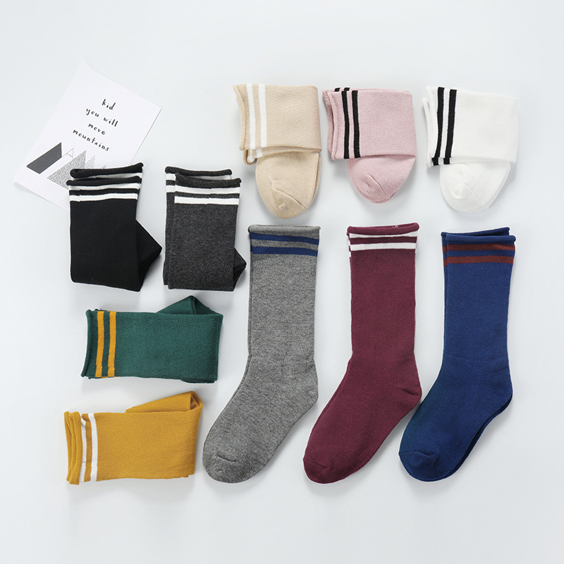 Kids Sports Cuff Length Socks Mid Tube Baby Cotton Striped Leg Warmers Socks Boys Girls Calcetines Children Clothes 1 10 Years in Socks from Mother Kids