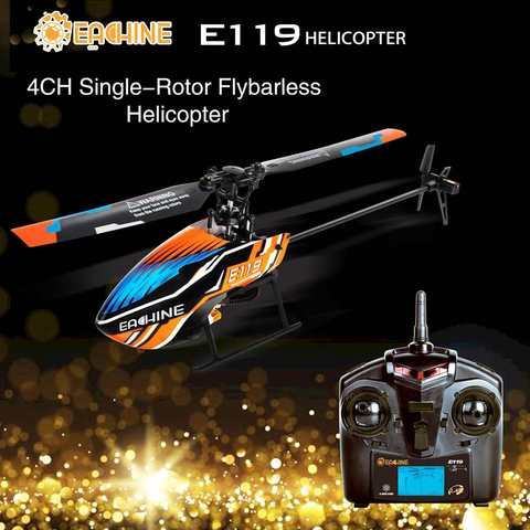 eachine e119 2 4g 4ch 6 axis flybarless 4ch transmissor com display led rc helicoptero