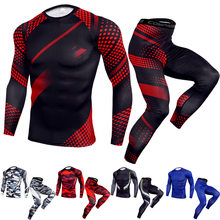 2Pcs/Set Men's Sports Tight Running Tracksuit Men Jogging Compression Sets Suit Basketball Tights Clothes Gym Fitness Sportswear(China)