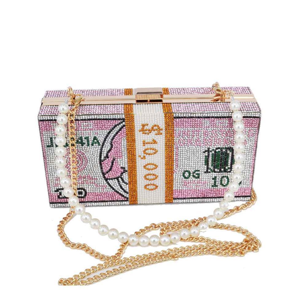 С украшением в виде кристаллов коробка клатчи розовый Долларовые купюры дизайнерские вечерние сумочки через плечо, сумочки, сумки для деву...