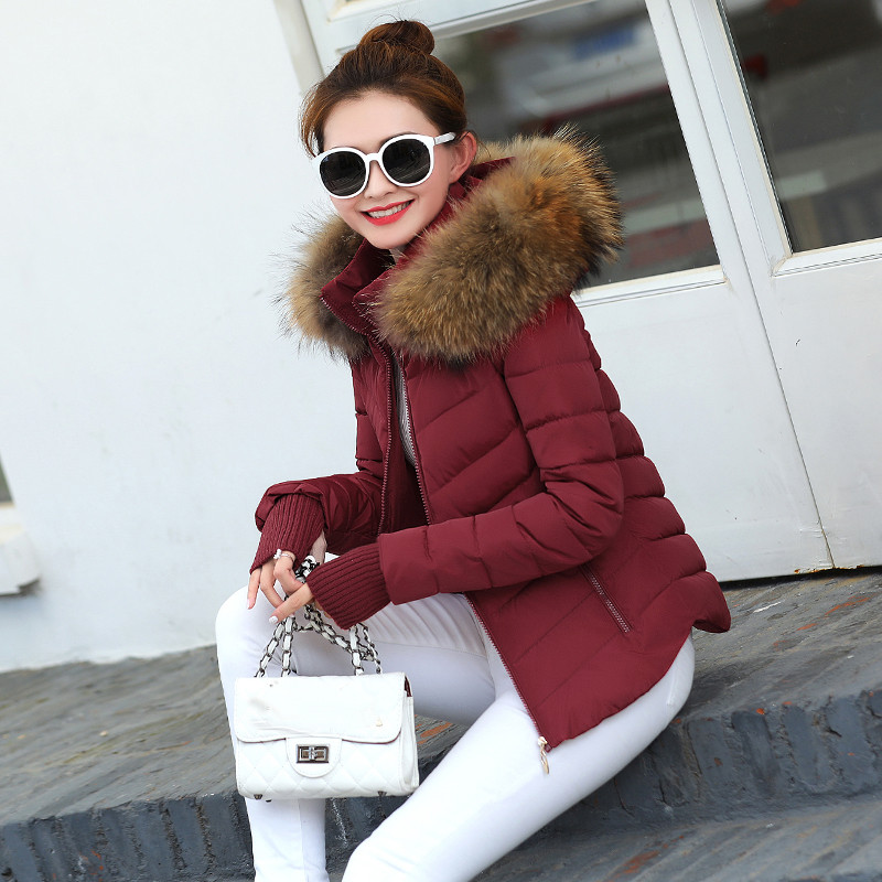 Parka Jacket Gloves Detachable Raccoon New Winter Fur-Collar Thick Coat Fashion Warm