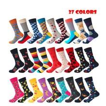 Качество бренд мужские счастливые носки 27Colors полосатый плед унисекс мужчины хлопок мужчин подарки дешевые thingscute stockingskids мальчик