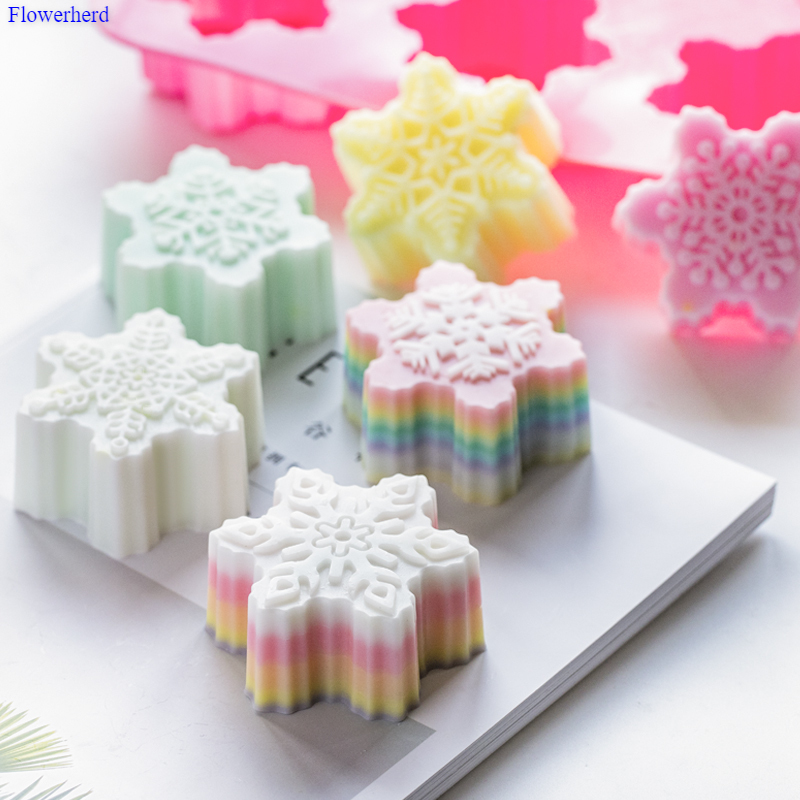 Easy Release Fondant Cake Mold Food Grade Soft Silicone Handmade Soap Mold Christmas Hot Sale Six Hole Snowflake Silicone Mold