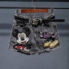 Hot-Shorts Embroidery Wide-Leg Loose High-Waist Summer Women Casual for All-Match Cartoon