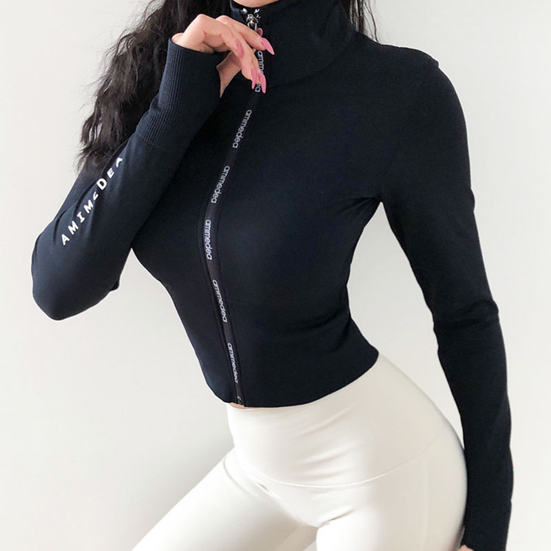 Woman Jerseys Sport shirt Women Jacket Long Sleeves Crop top Sports  Fit Fitness Yoga Top Workout Jacket Female Gym Shirts