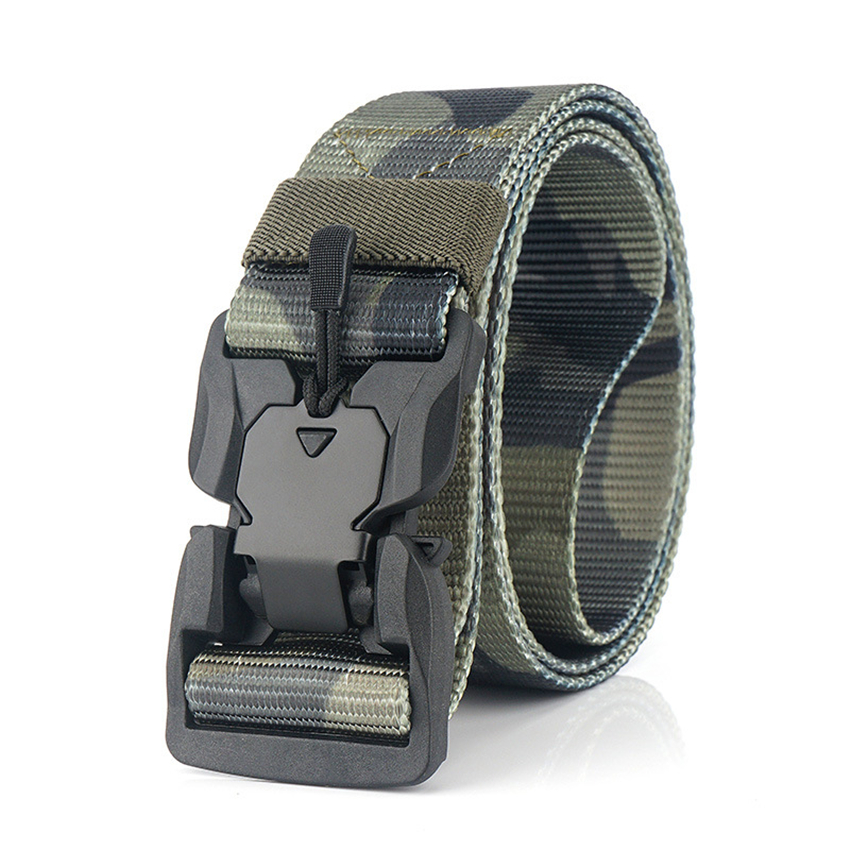 Quick Release Magnetic Buckle Outdoor Work Tactical Belt For Men Camouflage Military Training Strap Nylon Male Belt For Pants