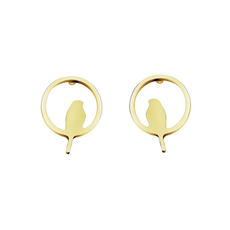 Stainless Steel Bird Stud Earrings For Women Girls Hollow Circle Animal Earring Bijoux Femme Jewelry Accessories Bridesmaid Gift in Stud Earrings from Jewelry Accessories
