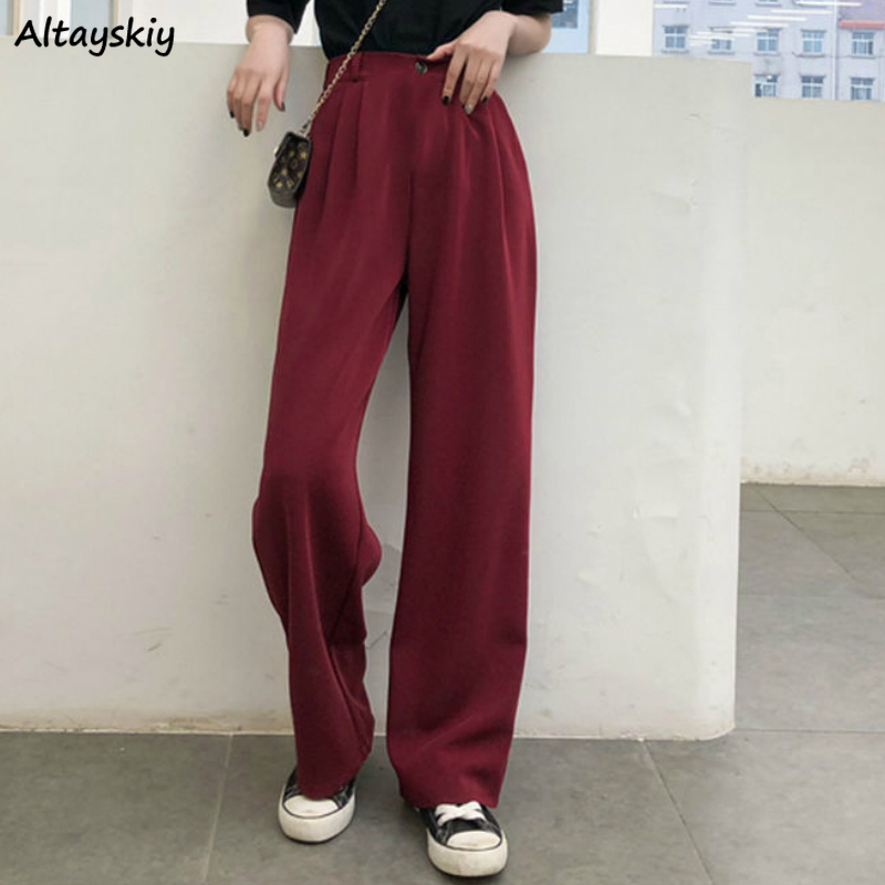 Wide Leg Pants Women Solid Button Fly High Waist Stylish Summer Vintage Pockets Femme Casual Long Trousers Loose Chic 2020 New