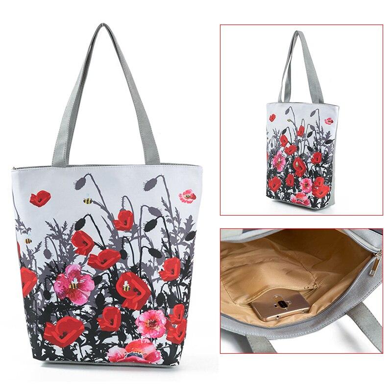 Floral Printed Tote Handbag Female Large Capacity Canvas Shoulder Bag Summer Beach Bag D88