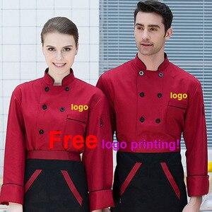 Мужская и Женская куртка шеф-повара, униформа для ресторана, кухни, дышащая одежда, Бесплатная печать логотипа, официант кафе, рубашка офици...