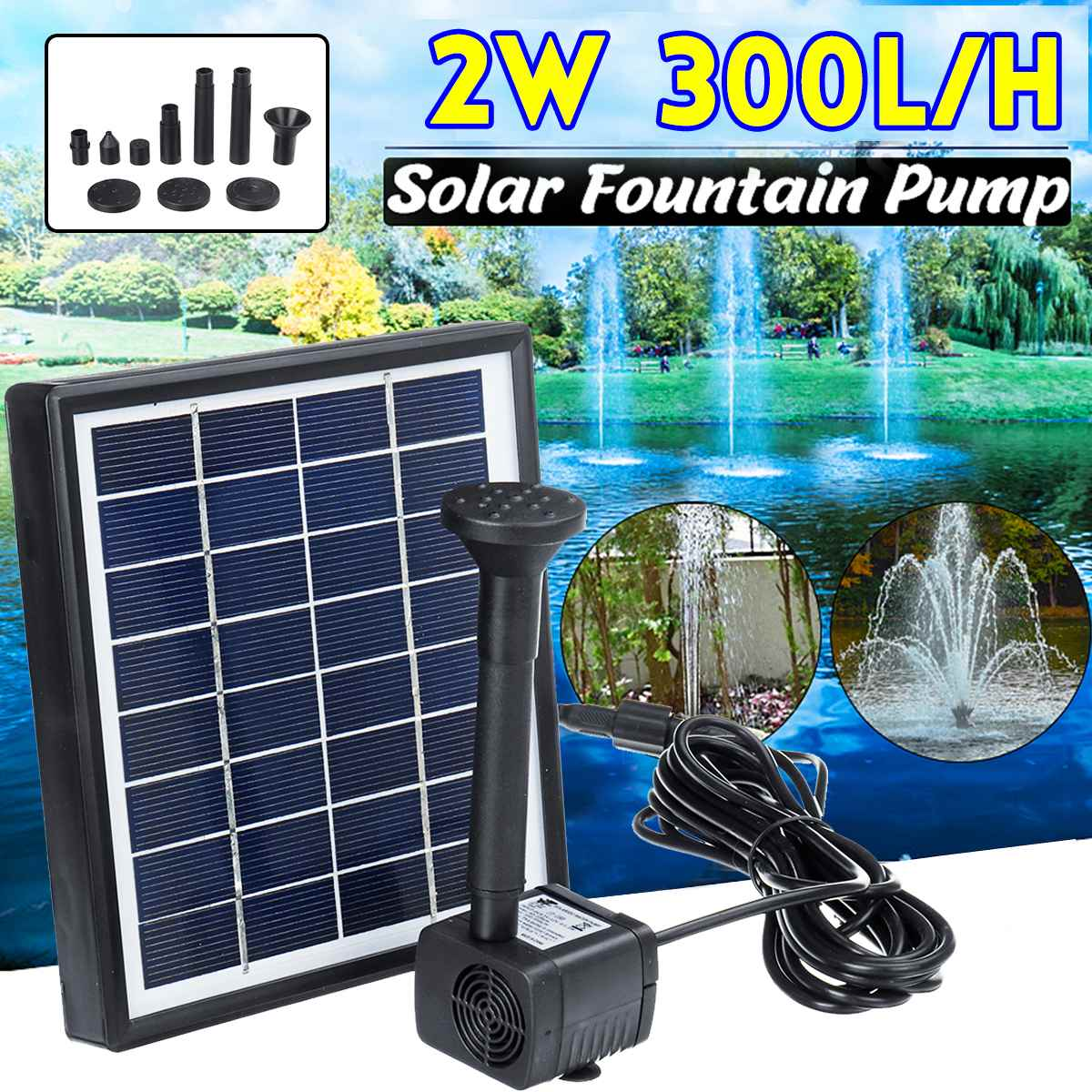 2W 300L/H Mini Solar Power Panel Water Pump Home Garden Decoration Outdoor Landscape Floating Fountain For Birdbath Pool Pond