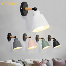 ASCELINA Hot Nordic Style Indoor Lighting LED Wall Lamp Modern Wooden Bedroom Bracket Light Household Living Room Bathroom Lamp