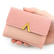 2019 New Fashion Simple Ladies Wallet Short Cover Type Large Capacity Candy Color Trend PU Girls Purse Bts bts 2018 new fashion bts 3d wallet kpop short zipper card wallet girl tassel purses mini cute bags customize bts accessories
