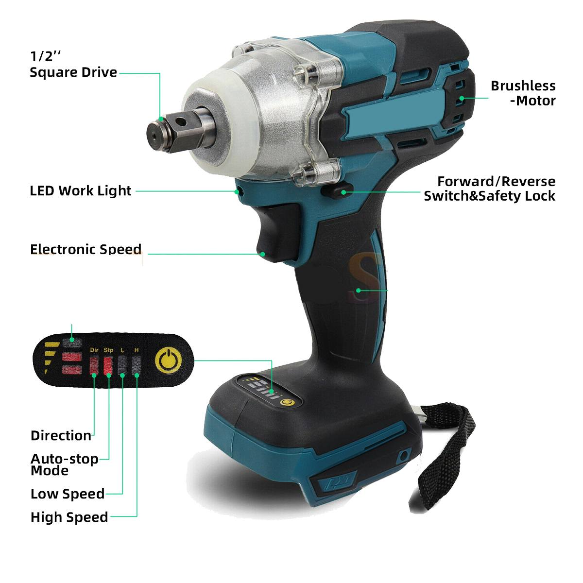 Socket Batteryless Cordless 520Nm And Wrench Impact Makita Wireless Accessories Wrench Brushless Power Battery Electric 18V Tool