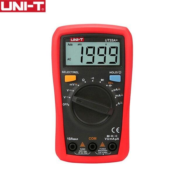 UNI T رقمي متعدد UT33A + السيارات المدى الجهد الحالي المقاومة قياس LCD AC DC + 2mF السعة NCV اختبار الخلفية