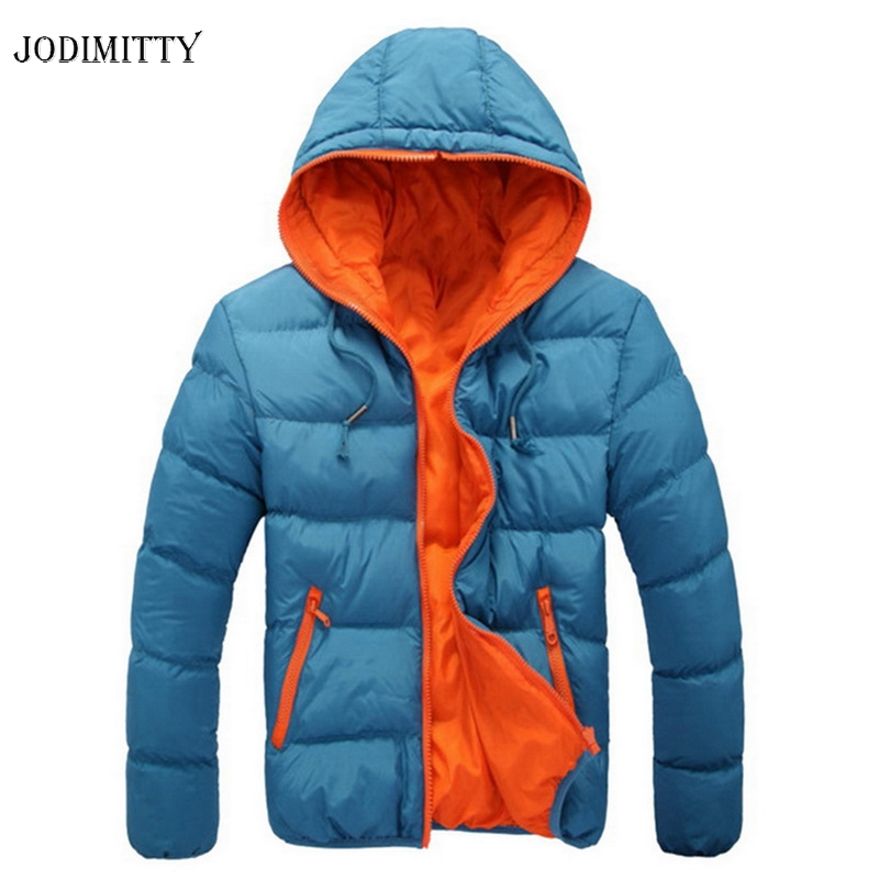 Jodimitty Men's Coat Winter Color Block Zipper Hooded Jacket Cotton Padded Coat Slim Fit Fashion Thicken Warm Outwear Tracksuit