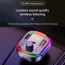Transmissor de fm bluetooth 5.0 adaptador colorido carro mp3 player handsfree chamando 2 porta usb com pd qc 3.0 carga rápida carro kit
