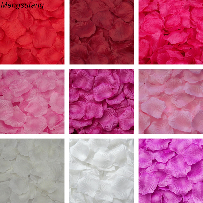 Mengsutang 01-16 Colors 500pcs / Lot 5*5cm Silk Rose Petals For Wedding Decoration Romantic Artificial Rose Flower 40 Colors