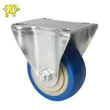 Light 3-inch Blue Pvc Fixed Caster Tool Car Mute Wear-resistant Directional Wheel Factory Direct