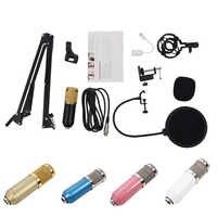 BM800 Kit de micrófono con condensador estudio suspensión Boom tijera brazo tarjeta de sonido
