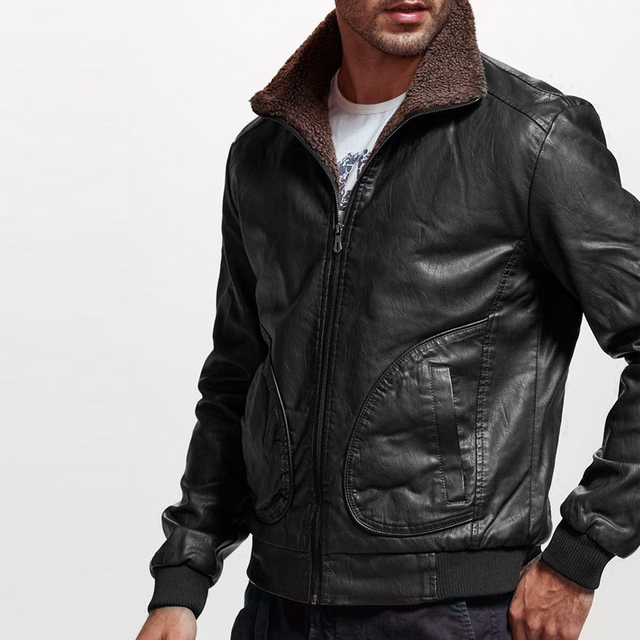 Winter Mens PU Jacket Thick Warm Men's Motorcycle Jacket New Fashion Windproof Leather Coat Male Size 3XL 1