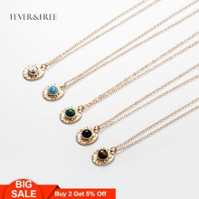 Fever&Free New Arrival Dainty Natural Stone Pendant Necklaces For Women Multi Color Collar Necklaces Collier Femme Trend Jewelry(China)