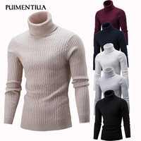 Puimentiua, новинка 2019, мужской свитер с высоким воротом, однотонный, простой, облегающий, водолазка, вязаный, длинный рукав, пуловер, топ для мужч...