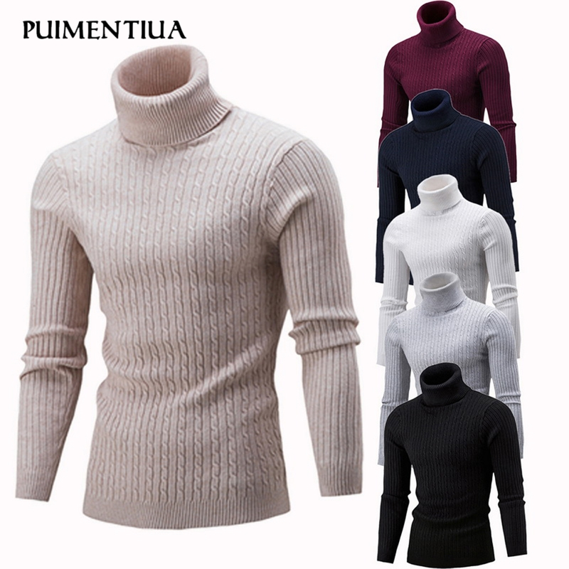 Puimentiua 2019 New Men's High Neck Sweater Solid Simple Slim Fit Hedging Turtleneck Knitted Long Sleeves Pullover Top Males