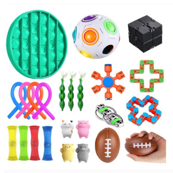 20-29PCS Pack Fidget Sensory Toy Set Stress Relief Toys Autism Anxiety Relief Stress Pop Bubble Fidget Toys For Kids Adults image