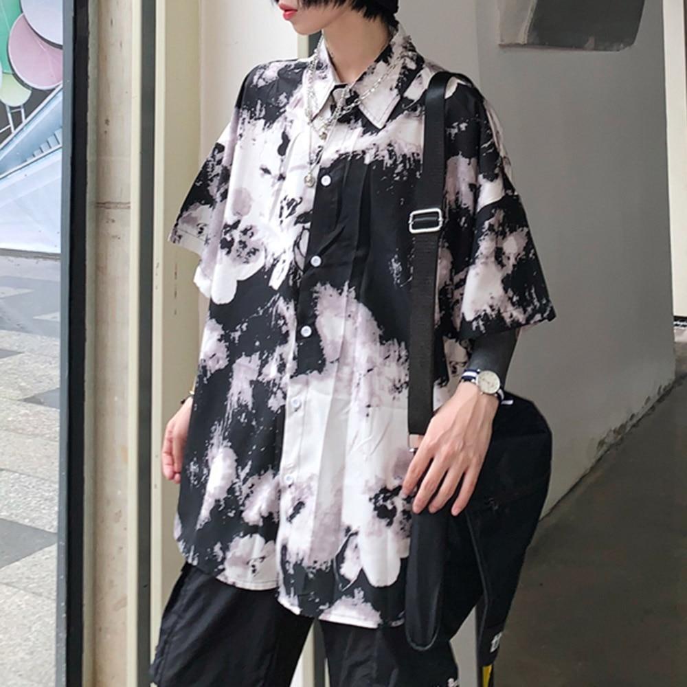 Rosetic Готический Галстук Краситель Блузка Рубашка Женщины Негабаритных Блузки Свободные Япония Harajuku Стиль Печатных Топы Школе Пару Рубашки Лето