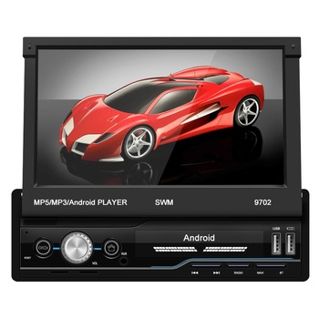 SWM 9702 1Din Android 8.1 Car Radio 7 Manual Retractable Touch Screen Stereo MP5 Player GPS FM WiFi Bluetooth Multimedia Player image