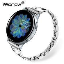 Pulseira de aço inoxidável sólido + cristal, pulseira para samsung galaxy watch active 2 40mm 44mm band active2 pulseira de alça