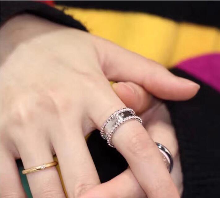 Top qualité 100% en argent Sterling 925 perlé Signature bande anneaux femmes élégant marque chaude bijoux de haute qualité argent anneaux cadeaux - 3