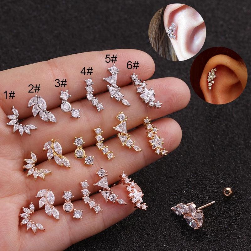 1PC Fashion Cz Ear Studs Cartilage Earring For Women Stainless Steel Zircon Leaf Small Stud Earring Ear Piercing Jewelry Gifts