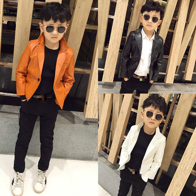 Children's Leather Suit 2021 Clothing Spring New Single-piece Small Suit Long Sleeve Motorcycle Leather Jacket Children Outwear