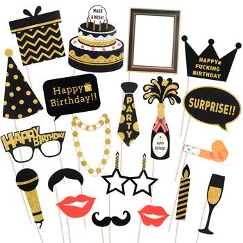 20 sztuk brokat rekwizyty do fotobudki na przyjęcie urodzinowe z drewniane patyczki Funny Party materiały dekoracyjne tanie i dobre opinie BESTOYARD Photobooth Props Other