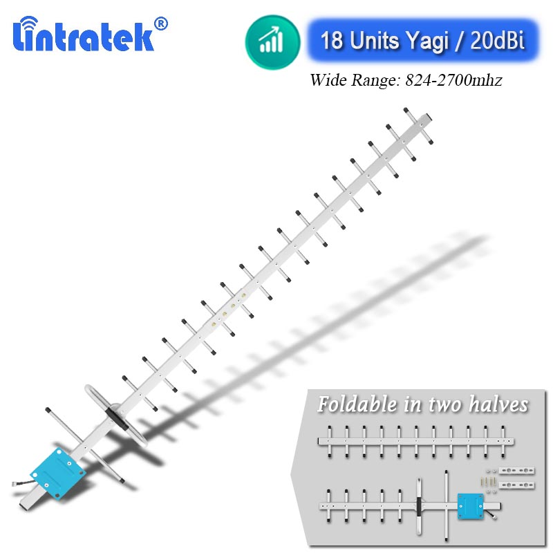 Lintratek 824-2700mhz 20dbi High Gain 18-units Yagi Outdoor Antenna 2G 3G 4G LTE for Cellphone Cellular Signal Booster Reapeter