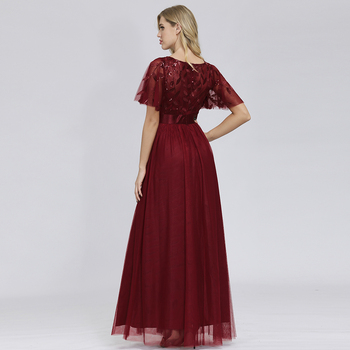 Robe De Soiree Sparkle Evening Dresses Long A-Line O-Neck Short Sleeve Formal Women Elegant Gowns Sequined Tulle Vestido - discount item  45% OFF Special Occasion Dresses
