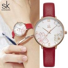 Shengke 2019 נשים שעונים מקרית Creative קוורץ גברת שעון עור רצועת צמיד עמיד למים שעוני יד מתנה Zegarek Damski