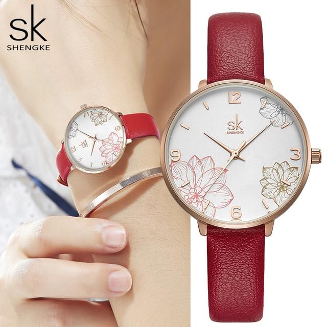 Shengke 2019 ผู้หญิงนาฬิกาสบายๆควอตซ์นาฬิกาสายหนังกันน้ำนาฬิกาข้อมือของขวัญ Zegarek Damski