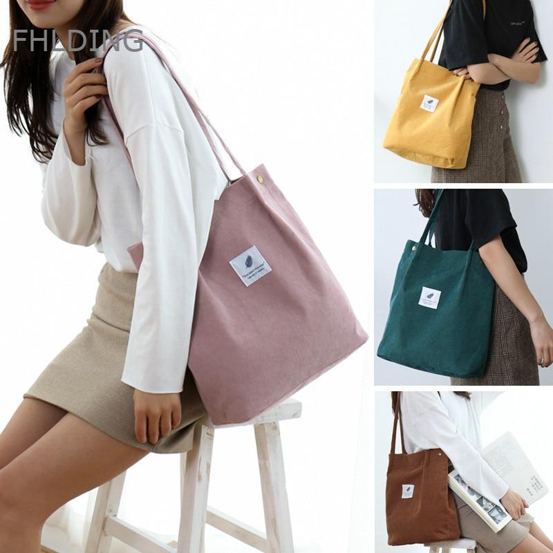 2020 High Capacity Women's Handbags Student Corduroy Tote Casual Solid Color Shoulder Bag Reusable Women Bag Shopping Beach Bag