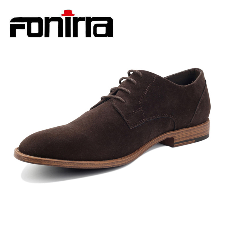 FONIRRA Fashion Men Suede Leather Casual Shoes Spring Men Flats Lace Up Male Oxfords Men Soft Leather Shoes  Chaussure Homme 404